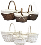Strong Oval Wicker Easter Egg Shopping Picnic Hamper Storage Basket With Handle (OEBROB-W)